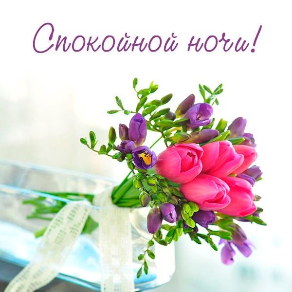 Открытка спокойной ночи с цветами - скачать бесплатно на otkrytkivsem.ru