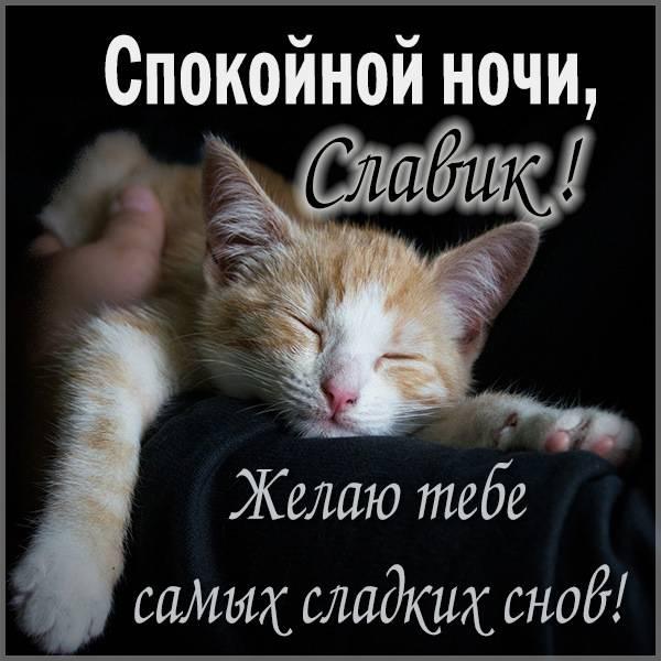 Открытка спокойной ночи Славик - скачать бесплатно на otkrytkivsem.ru