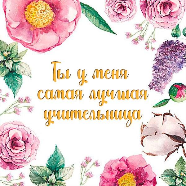 Открытка ты у меня самая лучшая учительница - скачать бесплатно на otkrytkivsem.ru