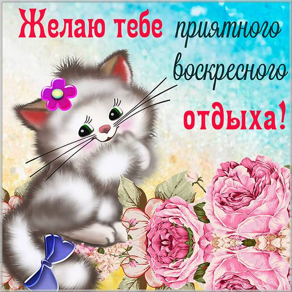 Открытка воскресенье выходной - скачать бесплатно на otkrytkivsem.ru