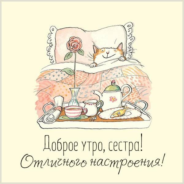 Прикольная картинка доброе утро отличного настроения сестре - скачать бесплатно на otkrytkivsem.ru