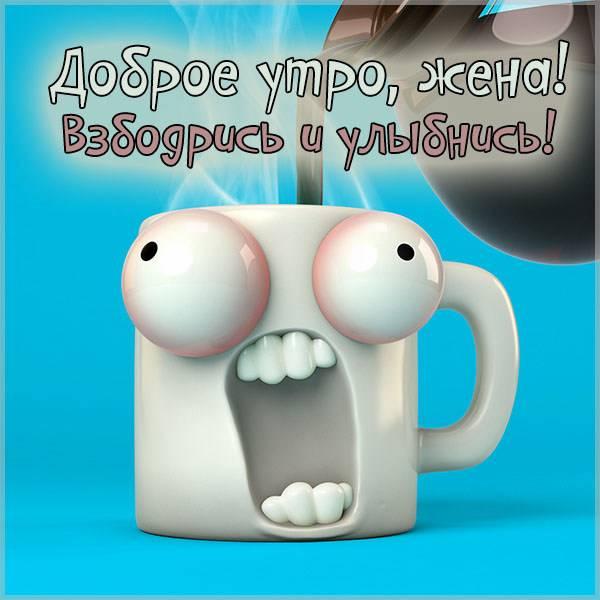 Прикольная картинка с добрым утром жене - скачать бесплатно на otkrytkivsem.ru