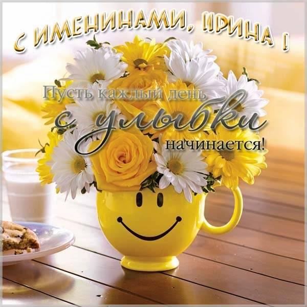 Прикольная картинка с поздравлением с именинами Ирины - скачать бесплатно на otkrytkivsem.ru