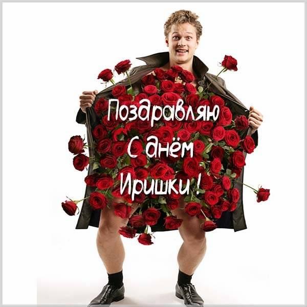 Прикольная картинка с веселым поздравлением с днем Иришки - скачать бесплатно на otkrytkivsem.ru
