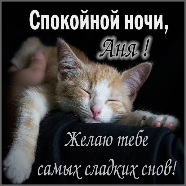 Прикольная картинка спокойной ночи Аня - скачать бесплатно на otkrytkivsem.ru