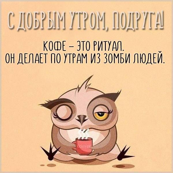 Прикольная открытка с добрым утром подруге - скачать бесплатно на otkrytkivsem.ru