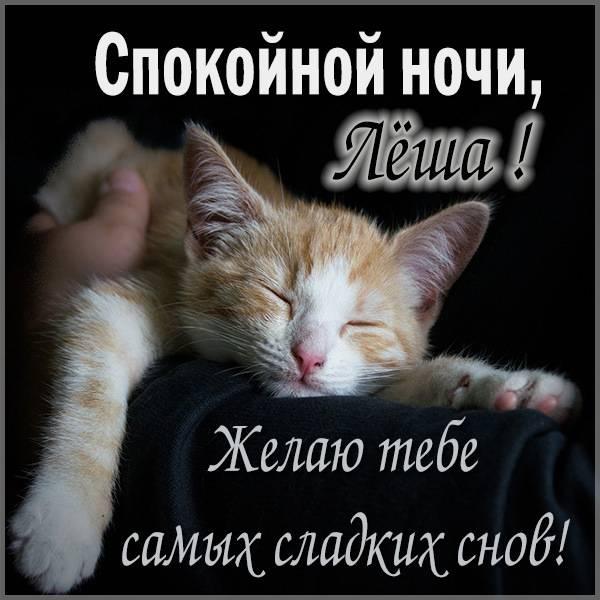 Прикольная смешная картинка спокойной ночи Леша - скачать бесплатно на otkrytkivsem.ru