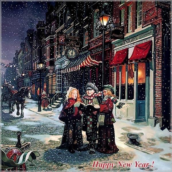Новогодняя открытка в старинном английском стиле - скачать бесплатно на otkrytkivsem.ru