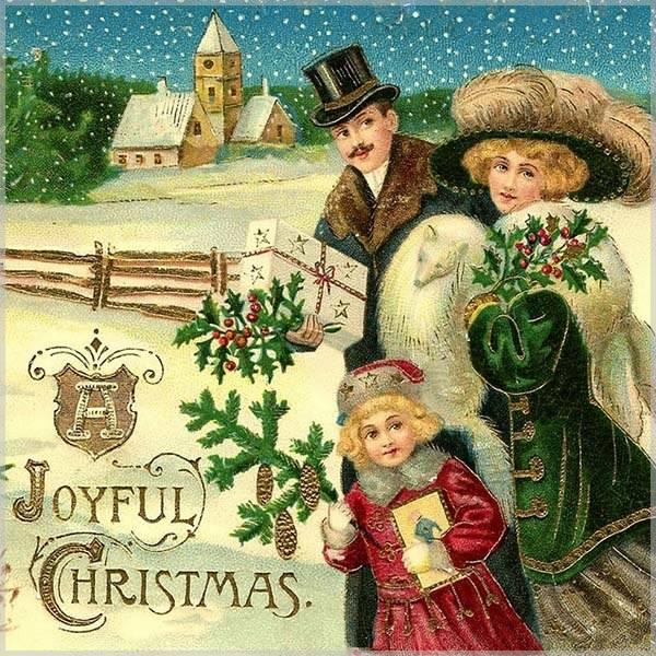 Новогодняя открытка в старинном немецком стиле - скачать бесплатно на otkrytkivsem.ru