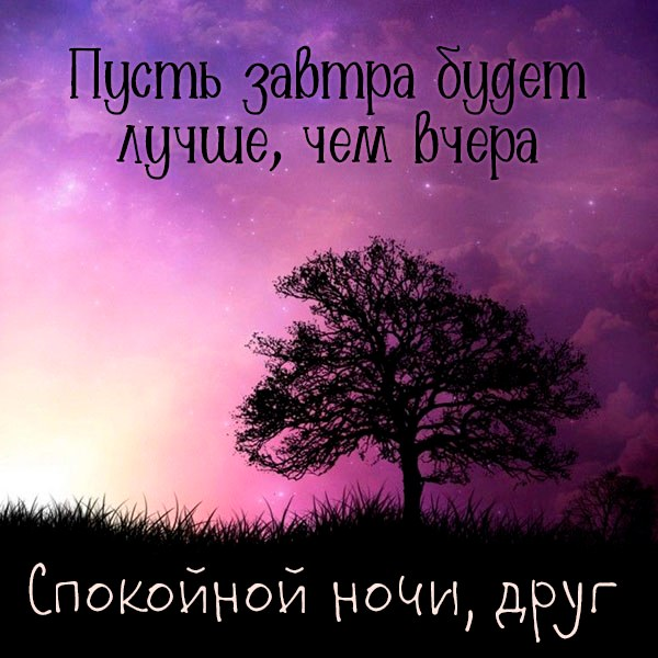 Виртуальная картинка спокойной ночи друг - скачать бесплатно на otkrytkivsem.ru