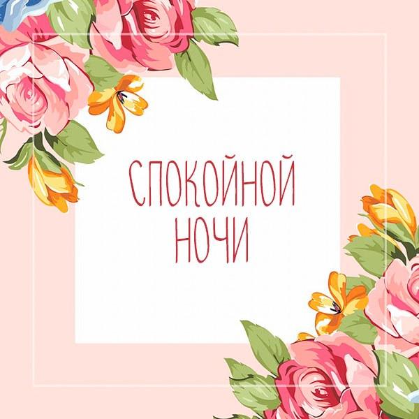 Виртуальная картинка спокойной ночи с цветами - скачать бесплатно на otkrytkivsem.ru