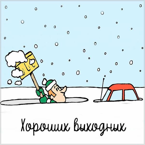 Зимняя картинка хороших выходных прикольная смешная - скачать бесплатно на otkrytkivsem.ru